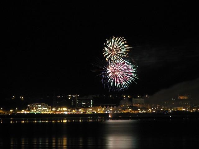 Fireworks over St Aubins' Bay