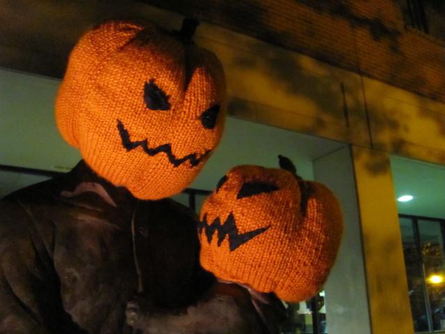 Pumpkin Head Halloween Yarnbomb