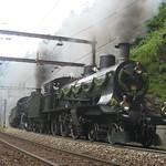 Dampfzug mit SBB Dampflokomotive A 3/5 + C 5/6 an der Gotthard - Südrampe , Kanton Tessin , Schweiz