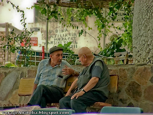 Old Friends Chatting at Village Coffeehouse | by voyageAnatolia.blogspot.com