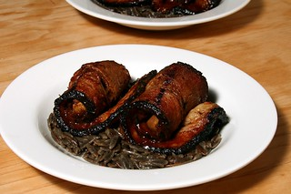 smoked garlic stuffed bbq brisket over buttered black bean orzo | by aarn!