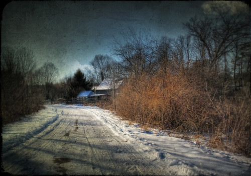 road family winter house snow cold texture ice home photoshop canon vintage landscape bush massachusetts country digitalart chilly hdr countryroad pepperell tamron1735mm 40d