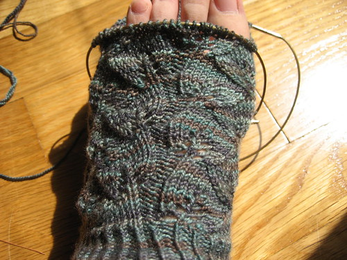 Embossed Leaves Socks - in progress | by mygomi