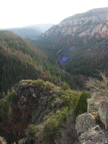 The view from the scenic overlook.  If you look carefully, you can see the lowest point of the road in the canyon.