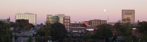 sunset moon sc skyline downtown spartanburg