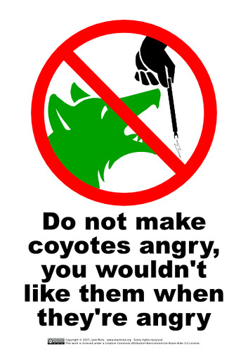 Do not make coyotes angry | by guppiecat