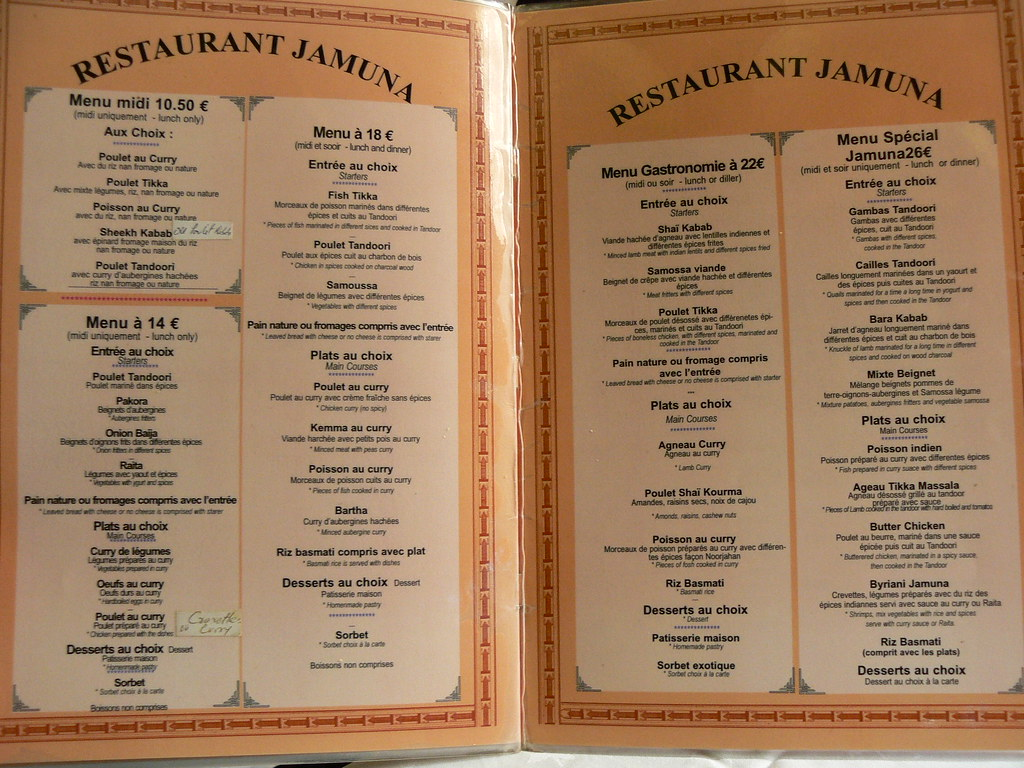 Carte Indien Restaurant.Carte Menu Restaurant Indien Jamuna Paris 13 Carte Menu Re