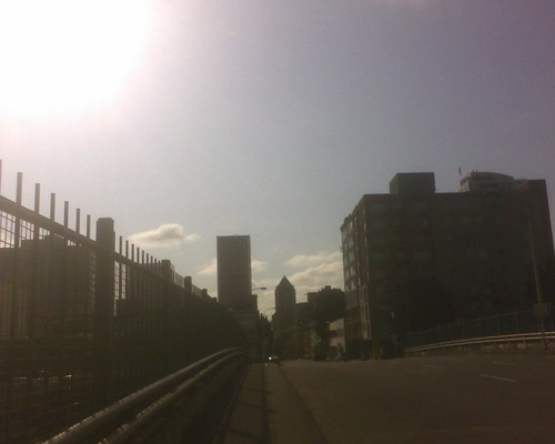 Looking west down Columbia towards the KOIN tower