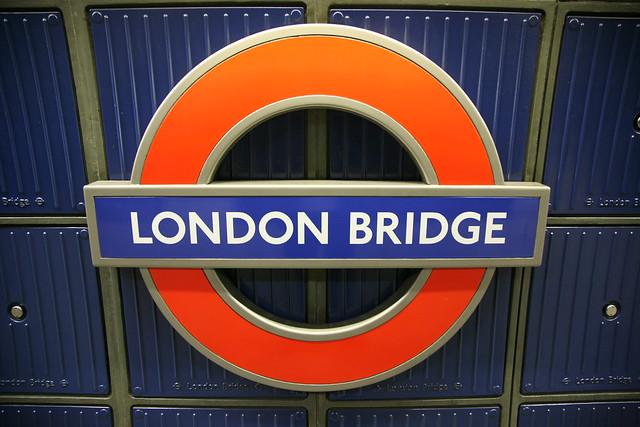 Platform sign at London Bridge Underground Station