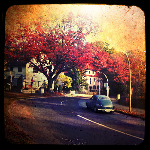 park street old autumn trees light sunset sky sun sunlight house berlin texture colors clouds sunrise daylight day oldtimer iphone hipstamatic