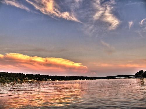 sunset reflection oklahoma water grandlake hdr