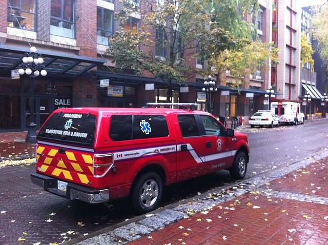 Emergency vehicles (police, ambulance, fire/medic) in Gastown