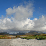 4. September 2006 - 16:32 - The main Uist hills from the bridge at Howmore (Tobha Mor)... from left to right - Hecla (Thacla), Beinn Corradail and Beinn Mhor
