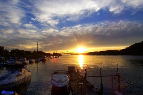 bridge blue sunset sky nature beautiful yellow clouds river landscape geotagged boat dock scenery huntington wv westvirginia aw ohioriver huntingtonwv rcvernors