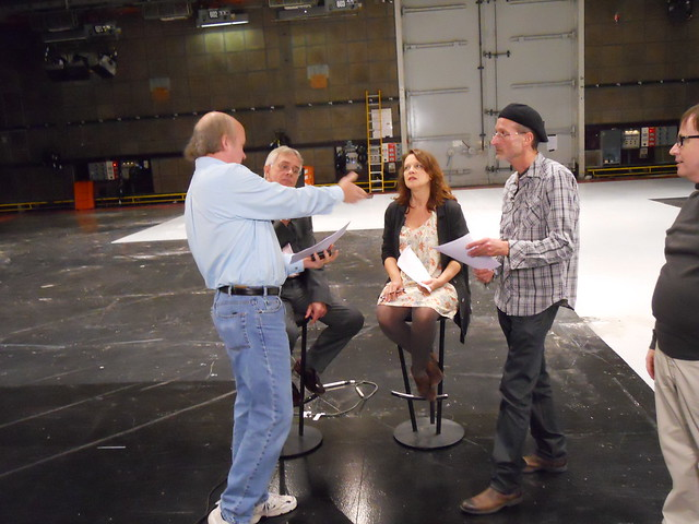 Going over script with Philip and Moira