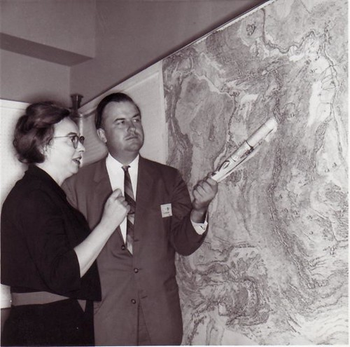 Bruce and Marie with the map | by marie tharp maps