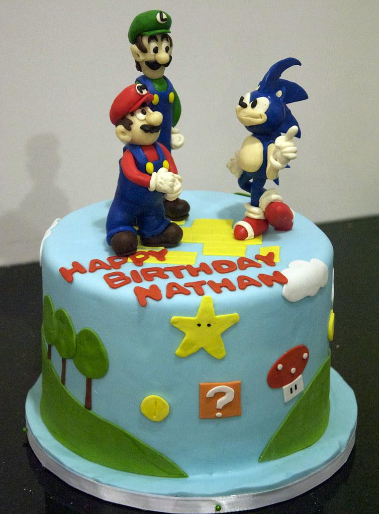 Peachy Bc4107 Super Mario Birthday Cake Bc4107 This 8 Round Flickr Funny Birthday Cards Online Fluifree Goldxyz
