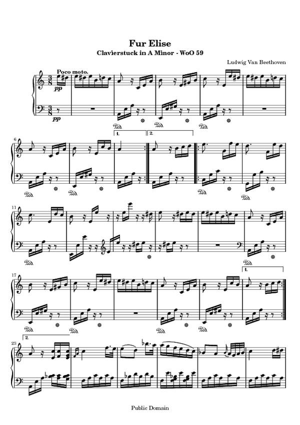 Fur Elise - Free Sheet Music for Piano | Fur Elise - free PD