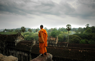 Angkor Wat Jungle Temple with praying monk | by IanBrewer