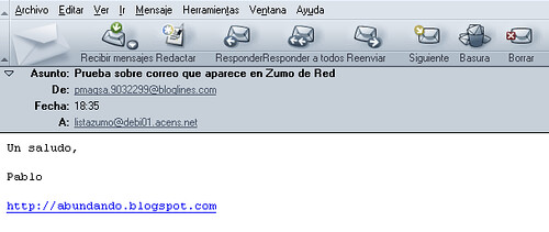 envío correo lista Zumo de Red - Baquía