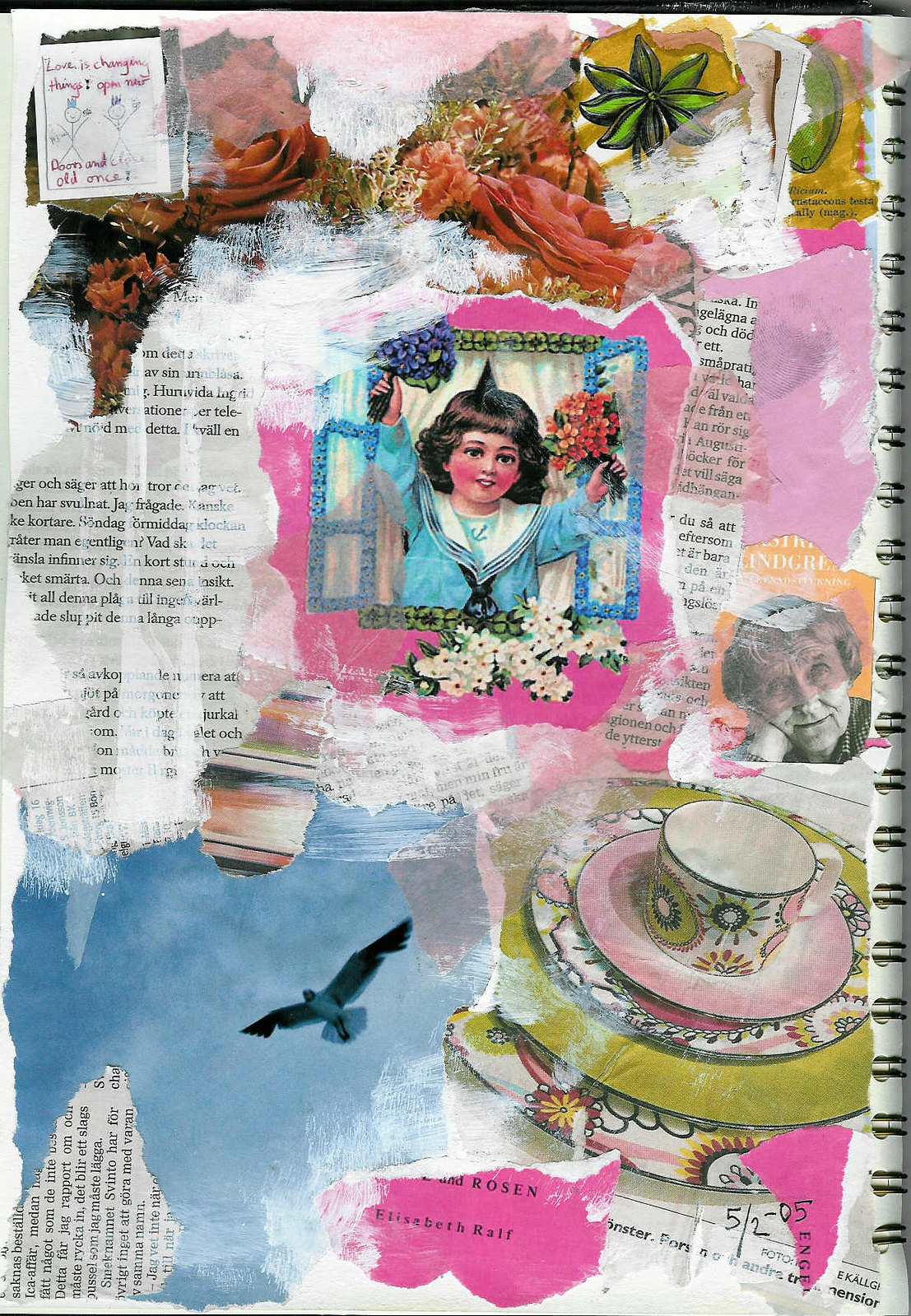 Open up your window a page from my first Art journal, collage by iHanna