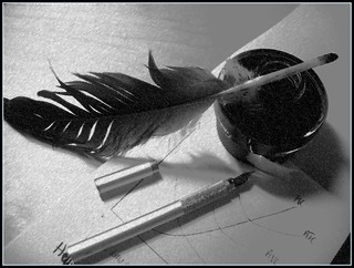 Quill and modern pen | by DigitalParadox