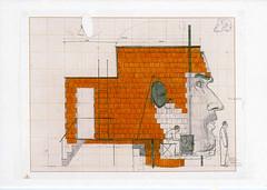 croxcard 42 Dirk Zoete (1969)<br /> Wonen in een hoofd als huiselijk avonturier, 2002<br /> tekening 65x50 cm