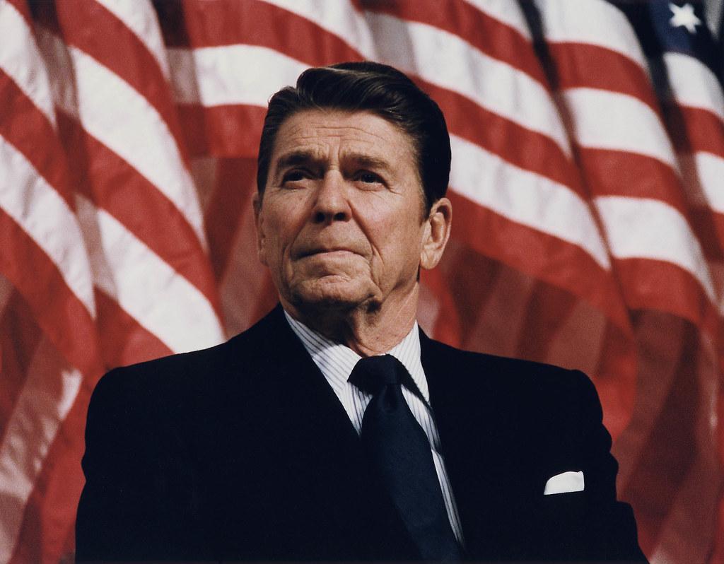 Public Domain: Ronald Reagan at Durenberger Rally by Michael Evans, 1982 (NARA/Reagan Library)