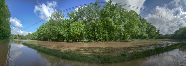 Panorama of Flooding on Dodson Branch Hwy and Roaring River at flood stage, Jackson Co, TN