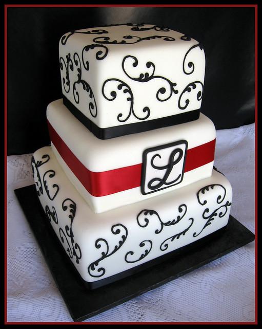 Black & White Monogram Wedding Cake