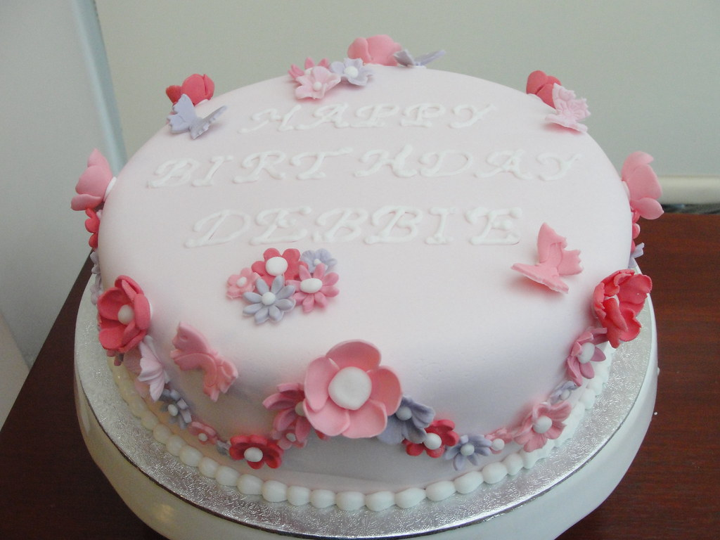 Prime Simple Flower Birthday Cake With Some Butterflies Flickr Funny Birthday Cards Online Elaedamsfinfo
