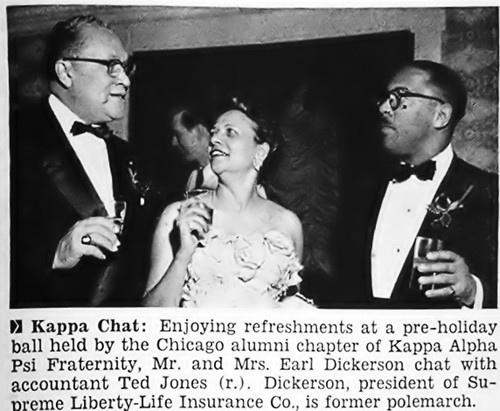 Atty & Mrs. Earl Dickerson at the Chicago Alumni Chapter of Kappa Alpha Psi Fraternity Pre Holiday Ball - Jet Magazine, January 5, 1956