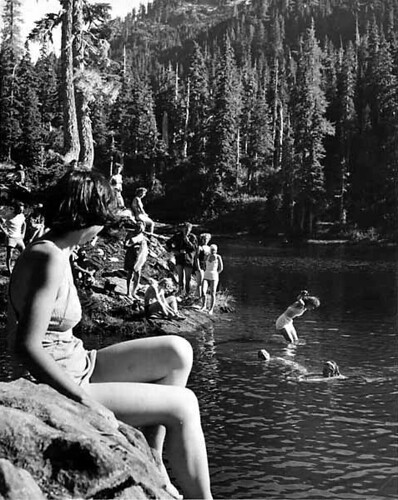 Men and women in bathing costumes swimming at Lake Mary | by UW Digital Collections
