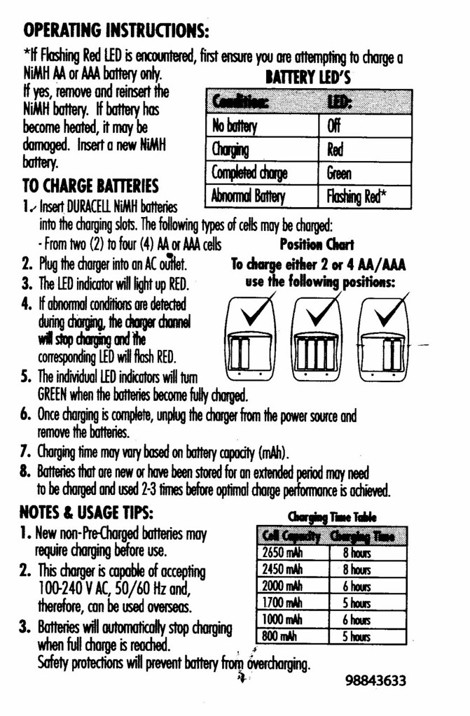 Duracell Battery Recharger Instructions Operating