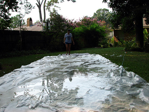 lauren grass outside backyard julie n slide slip tarp