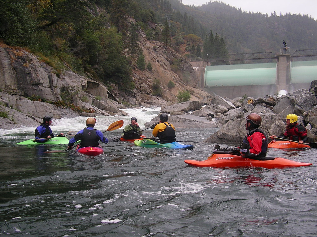 Kayakers at the base of Cresta Dam