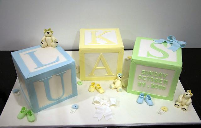 large baby block baptism cake