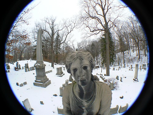 trees winter portrait snow ny newyork cold nature cemetery grave graveyard statue dark dead outside death hope branches south headstone tomb goth piercing creepy rochester spooky mount doom gravestone wedge wny monroecounty fz7 gawf semifisheyelens