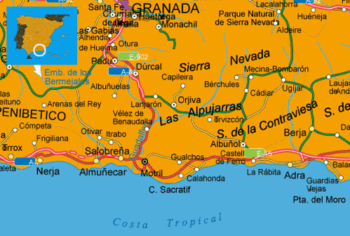 Costa De Granada Mapa.Maps Spain Costa Tropical Costa Tropical Spanish Coast Map