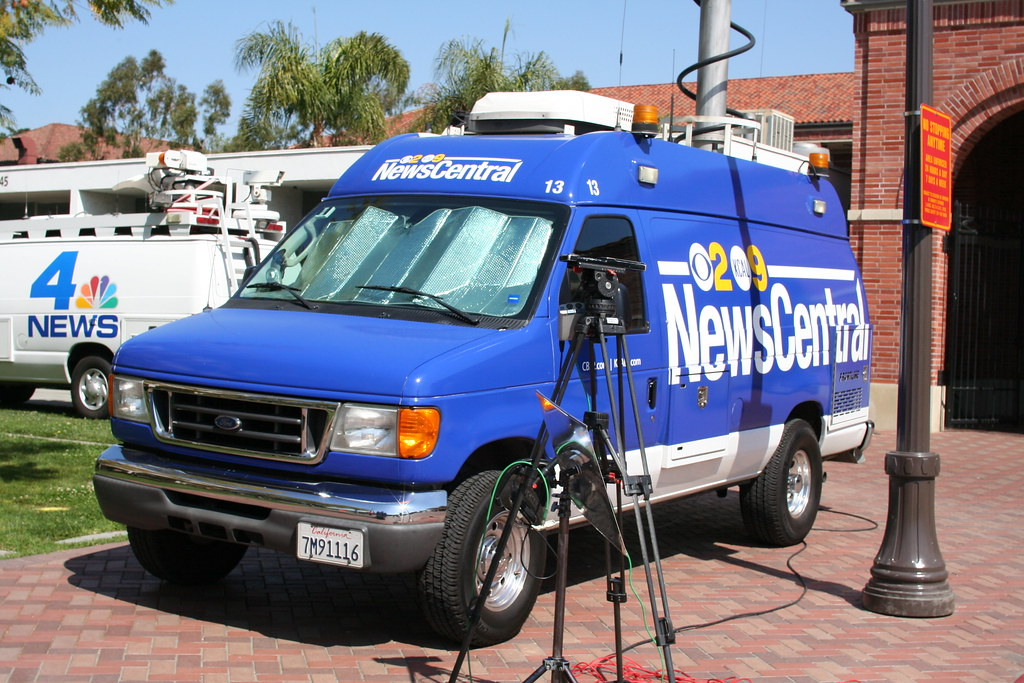 Channel 2 CBS and KCAL 9 television news van in Los Angele
