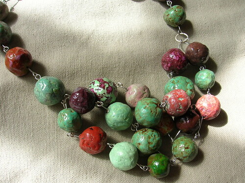 Papier mache bead necklace | by hel_w
