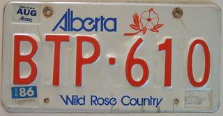 ALBERTA 1986 auto license plate