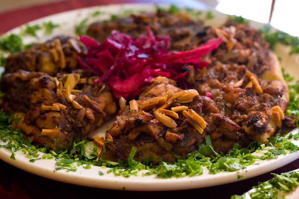 Musakhan (chicken, pine nuts, almonds, onions, sumac), Tanoreen