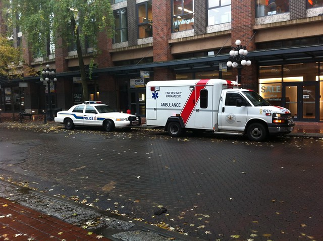 Emergency vehicles in Gastown