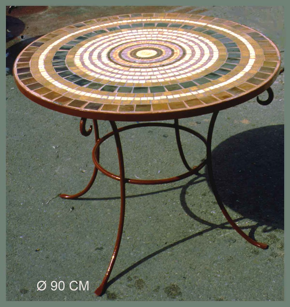 table top with ceramic tiles, ALEA-mosaic.com