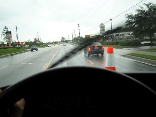 road street cars wet rain hand cone cable van windshield steeringwheel inclement windshieldwiper project365
