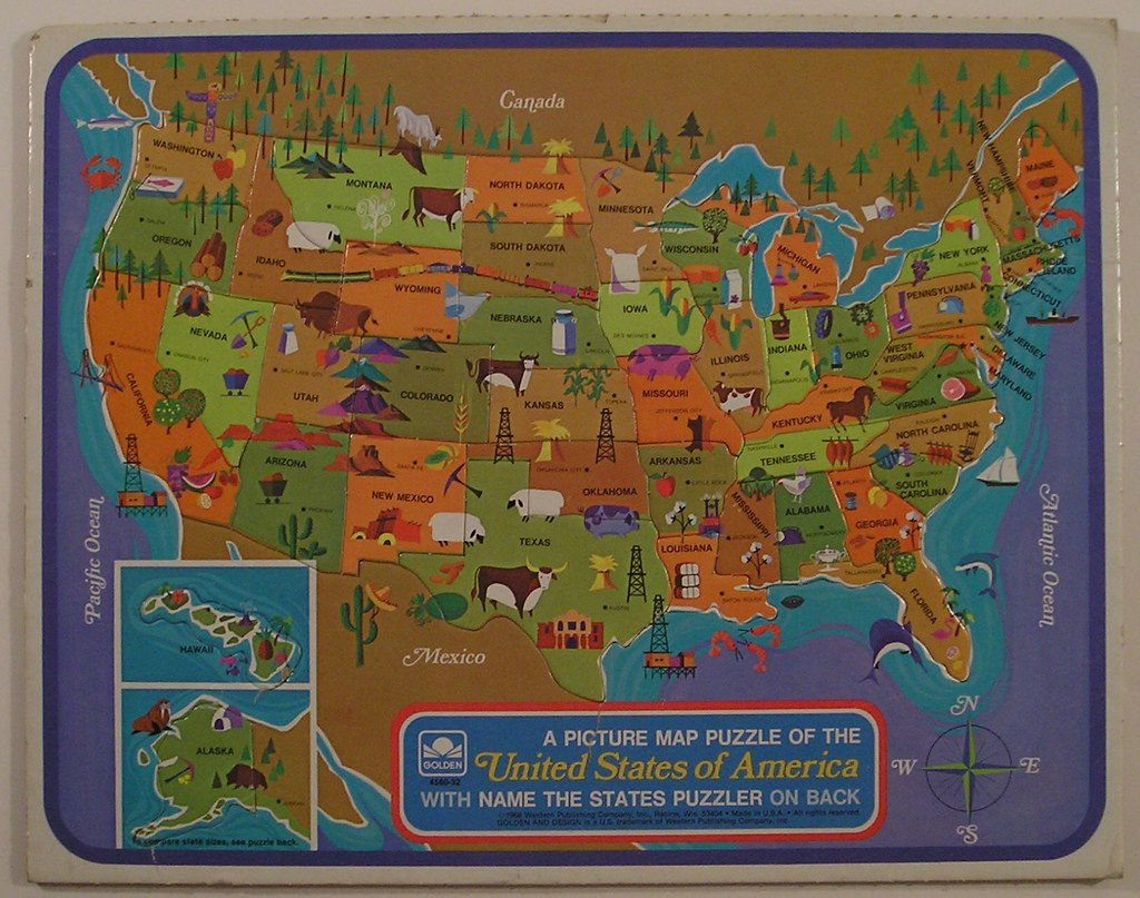 Golden Picture Map Puzzle of the USA, 1968 | Tom | Flickr