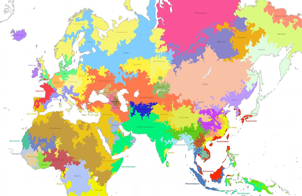 Linguistic Map of the Old World, 3800BCE | Language families ...