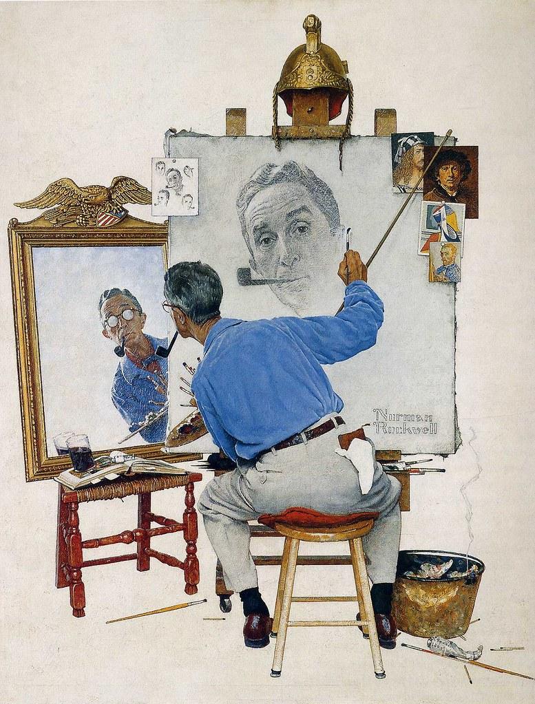 Norman Rockwell - Triple Self-Portrait [1960]
