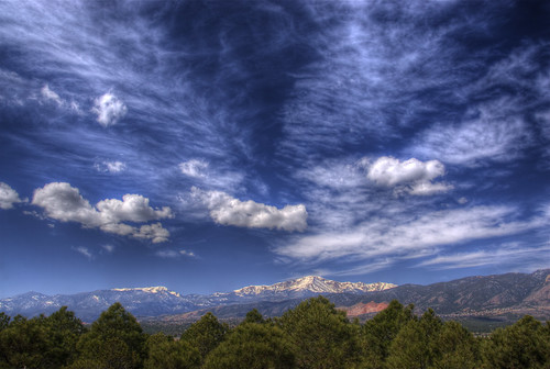 pikespeak mountain colorado sky blue clouds snow trees landscape nature photo coloradosprings airforceacademy 201004 rockymountains explore